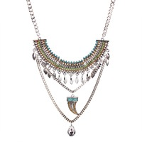 Solememo Wholesale Gemstone Alloy Pendant Vintage Bohemian Collar Necklace N3171