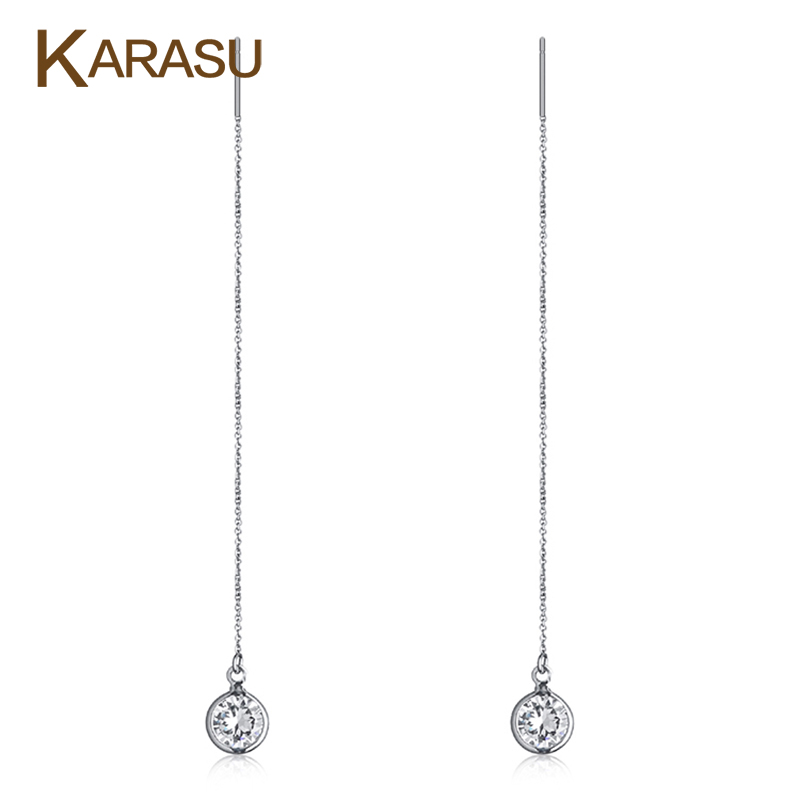 Real Planium Filled Fashion 2 carat AAA+ Round Cubic Zircon Diamond Long Line Dangle Drop Earrings for Women Piercing Jewelry