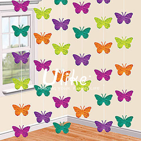 2014 Party Items and Supplies, Hanging PET Garland, Party Hall Decoration BUTTERFLY