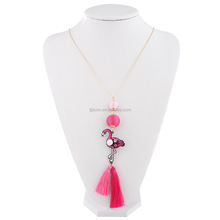 Flamingo Necklace Bohemia handmade wool ball creative tassel dainty necklace sweater chain