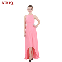 New Red Front Short Back Long Chiffon Pink Sleeveless Evening Dress OEM Service