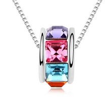 Free shipping top quality 18k white gold plated swarovski necklace