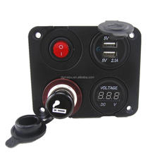 12V Autos Dual USB Socket Voltmeter ON-OFF Button Switch 4 Hole Panel LED Switch