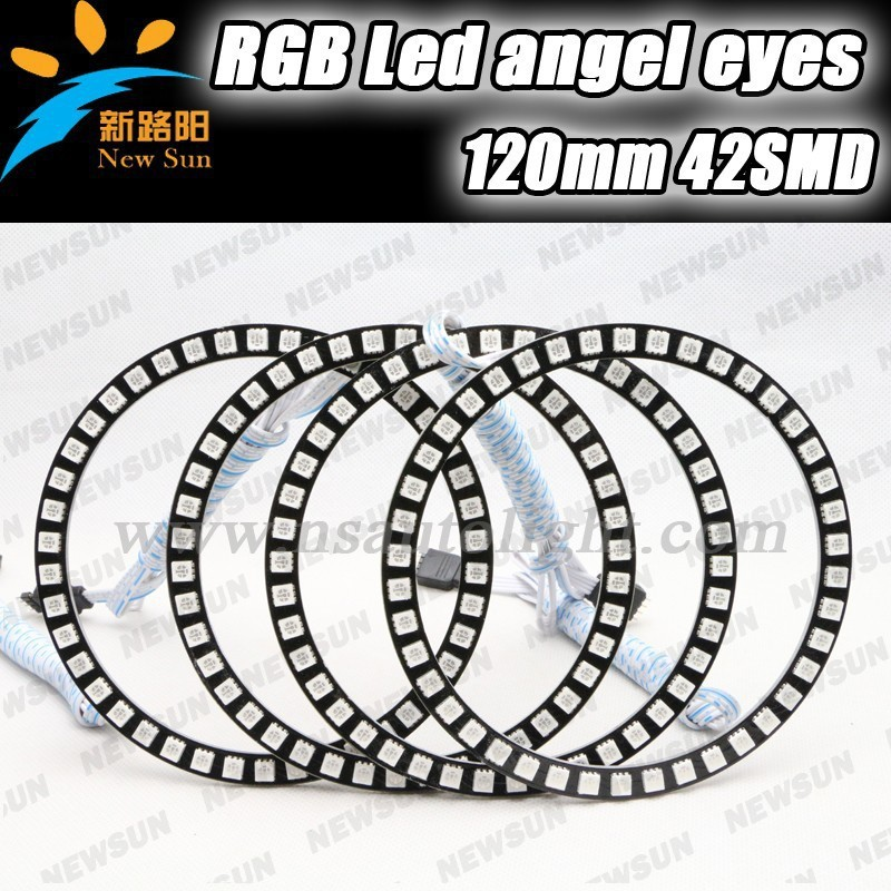 2014 super bright auto light headlight 5050 SMD rgb led angel eyes, 42SMD 120mm smd led color changing angel eyes kit universal