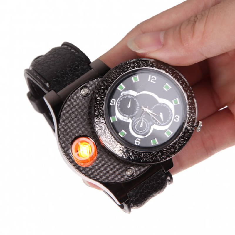 Promotional USB watch lighter electronic windproof cigarette lighter fluorescent