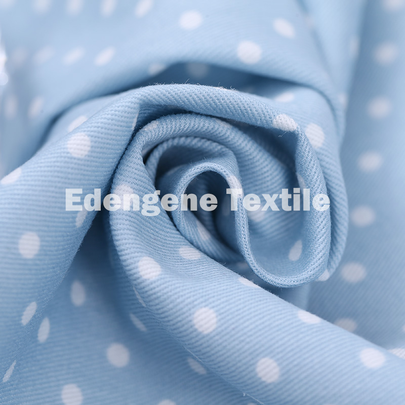 100 % cotton twill woven fabric with Dot printing design