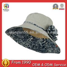 Fashion Cotton Wide Brim Plain Ladies Fresh Flower Bucket Hat