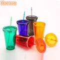 16OZ double wall acrylic tumbler with straw wholesale double wall plastic cups