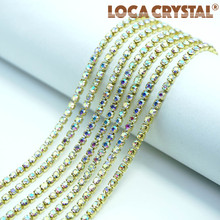 LOCACRYSTAL brand square brass rhinestone claw beads chain decorative hanging chain