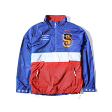 Chinese clothing manufacturers fashion 2017 mens jacket printing logo color matched windbreaker pullover jacket with pocket