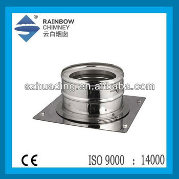 CE double wall stainless steel fireplaces chimney base wall support chimney pipe fittings