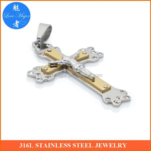 two tones gold religious big stainless steel cross jesus pendant crystal jewellery