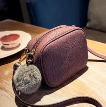 zm50972b 2017 Fashion Good Quality Professional Women's Shoulder Bag with Fuzzy Ball Pu Leather Mini Bags