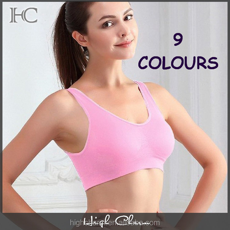 OEM good quality active comfort pro fit push up shockproof multi colour seamless wireless gym sports bra tank top women
