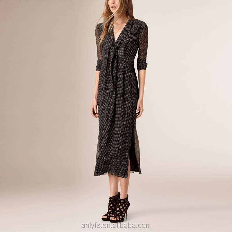 Styles of dresses made of chiffon for a full temperament polka dot latest dress design photos