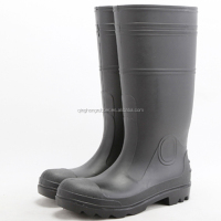 high quality shoes factory men's PVC high gun boots with steel safety shoes