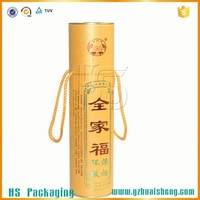 Portable Custom Paper Round Tube Wine Box with Lids Wholesale