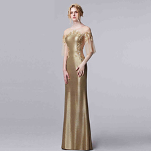 Golden Long Evening Cocktail Formal Party Ball Bridesmaid Prom Gown Dress
