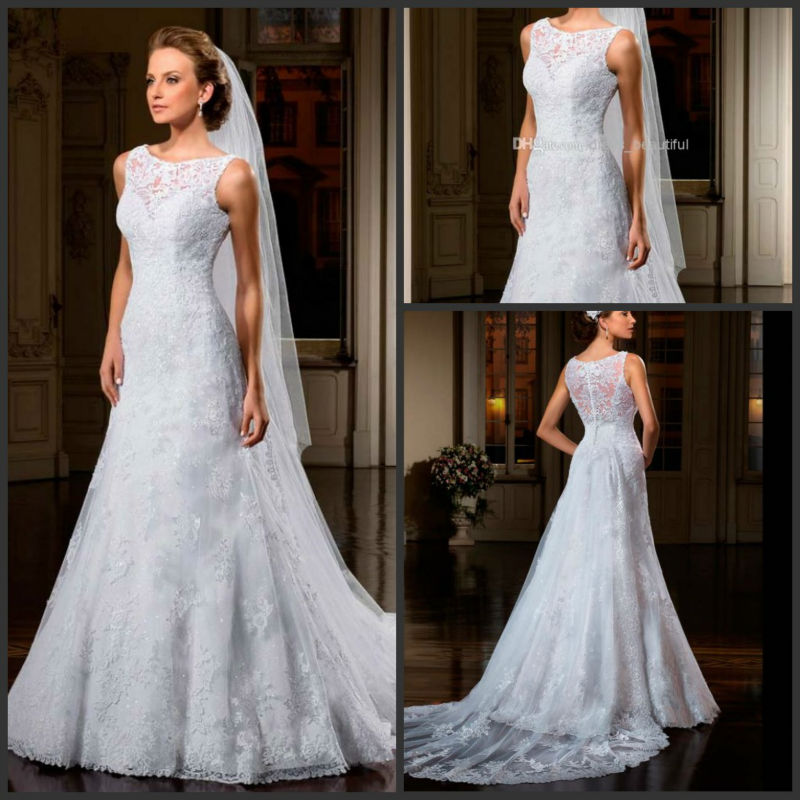 2014 Best Selling A-Line Illusion Vestido De Noiva Lotus Sheath Lace Court Train Tulle Appliqued Wedding Dresses