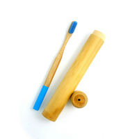 environmental bamboo toothbrush and bamboo case for travel