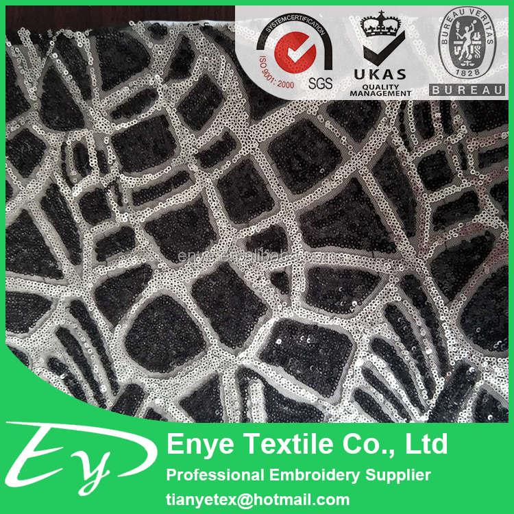2017 most popular EY-13298 poly mesh 3mm sequin lace fabric embroidery