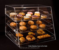 "Clear 3 Tier Acrylic Cupcake Cookie Bakery Display Case Stand Box Bin w/removable trays 21""Wx17""Dx16.75""H"