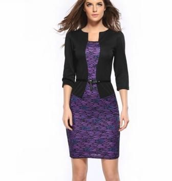 New ladies dress pencil design women lace lady office formal fashion dresses