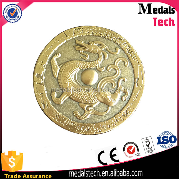 Antique chinese custom gold 3d animal shape metal souvenir coins