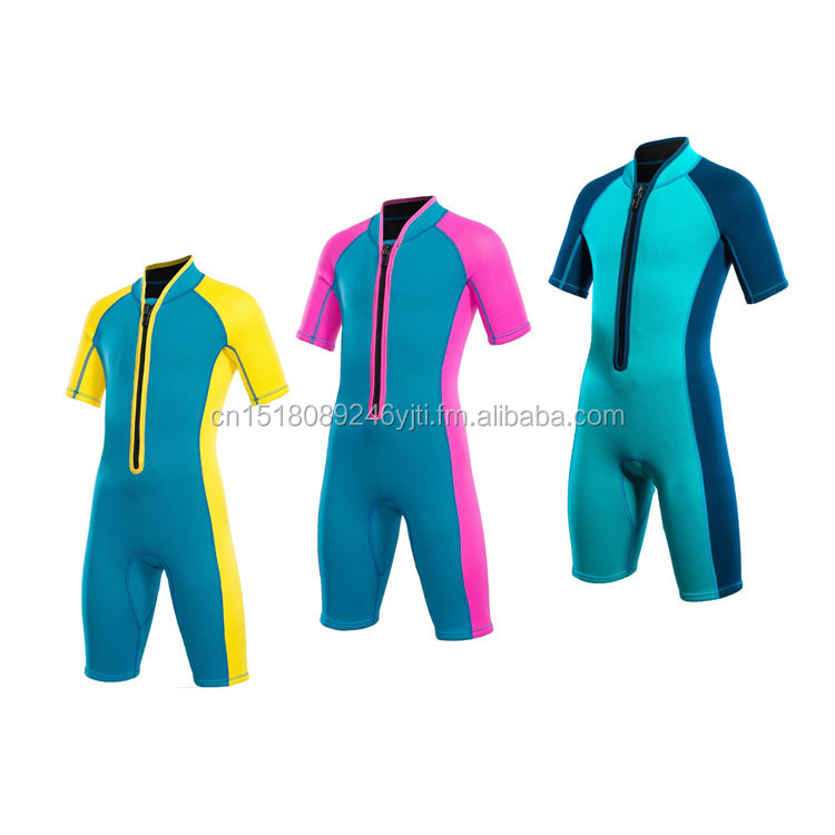 cute 2mm shorty kids wetsuit swimsuit one piece front zipper yellow green pink (1).jpg