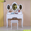 Goodlife Vanity Set with Stool Dressing Table with 7 Organization Drawers 3 Oval Mirrors,white