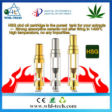 WHL OEM avalible custom logo cbd air flow adjustable atomizer 510 vape pen cartridge HSG THC oil tank atomizer cartridge 0.5ml