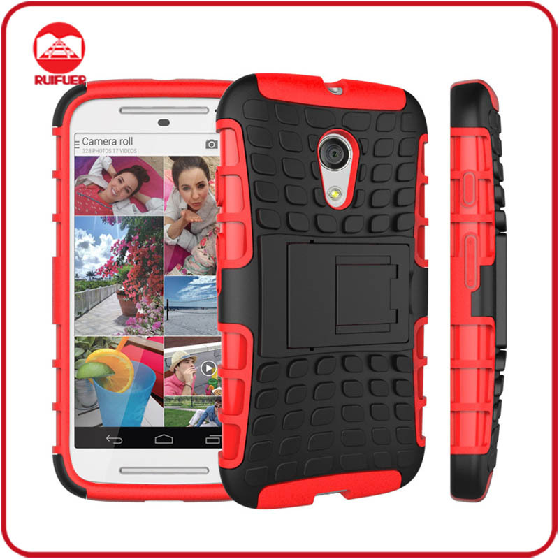 Dual Layer Tough Rugged Kickstand Hybrid Heavy Duty Armor Shockproof Case for Motorola Moto G2 ,2nd Generation