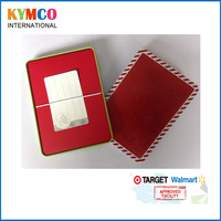 Wholesale christmas metal gift card box Glitter packaging tinplate recycle box