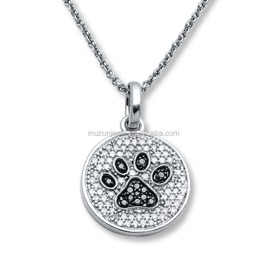 Women's 925 Sterling Silver Black&White CZ Animal Paw Pendant Necklace