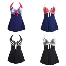 Wholesale Vintage Sailor Swimsuit One Piece Halter Neck Skirtini Swimdress
