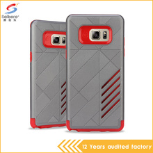 2 in 1 gray and red color hybrid armor shockproof cell phone case for samsung galaxy note 6