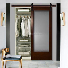 31 in. x 84 in. Modern Full Lite Frosted Glass Stained Walnut Wood Interior Barn Doors with Sliding Door Hardware Kit