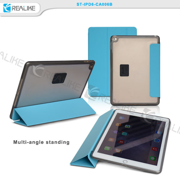 Smart tablet pc stand case folding cover blue cover , for ipad air 2 case leather cover