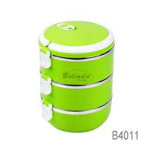 Quality Chinese Product Colorful Food Warmer Three Layers Stainless Steel Tiffin Lunch Box with Compartments