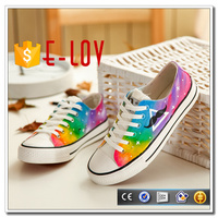 2017 Classic Hand Painting Vulcanized Canvas shoes With Rubber Sole