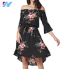 high quality Summer Asymmetrical Dress Slash Neck Black Flower Print Pattern Sexy Loose women Casual Party Dresses