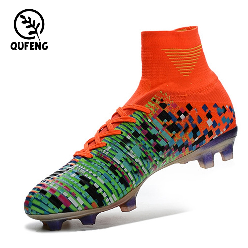 Men Sports High ankle indoor Football boots shoe Messi CR7 Turf Soccer Shoes