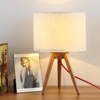 hotel modern decorative office desk lamp wooden tripod table lamp with fabric shade