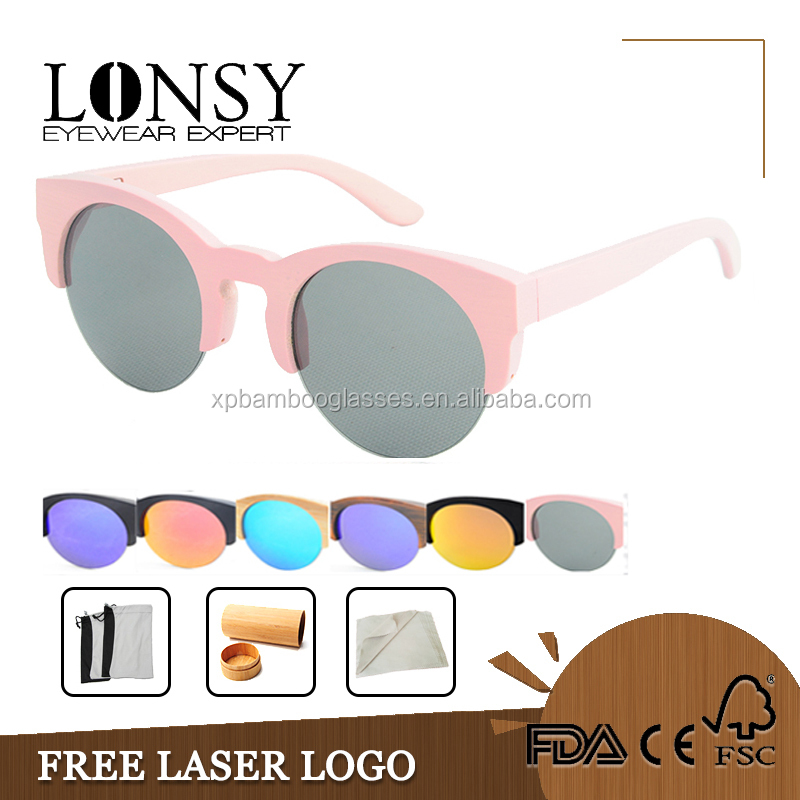 Shades Eyewear Sunglasses Women Pink Bamboo Sunglasses Wholesale LS1031-C4
