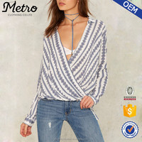 Women Fashion Buttoned Sleeves Stripes Rayon Blouse