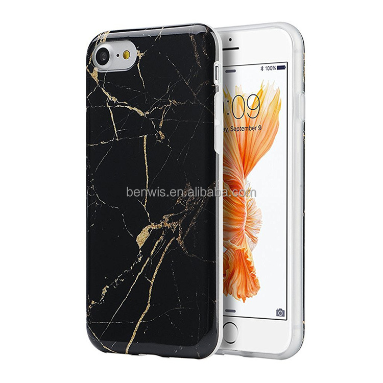 IMD Design Marble Stone Pattern Texture Anti slip Soft Flexible TPU Slim Fit Thin Cover Case for Iphone 7/7 plus