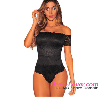 Open Body Sexy Photo Black Off The Shoulder Woman Top Lace Bodysuit