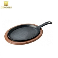 Oval Cast Iron Skillet Fajita Pan with Handle