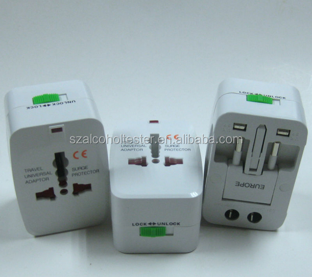 Universal travel adapter/electrical gift items world universal travel adaptor 2U USB Ports