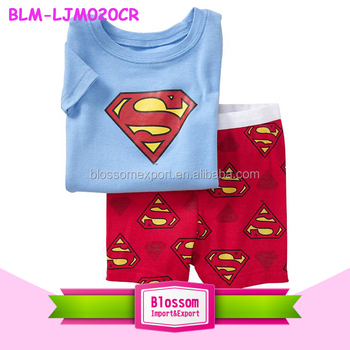 2016 New Kids toddler clothes Pajamas Set boys girls sleepwear pyjamas pattern printed superman cartoon printed baby pajamas set